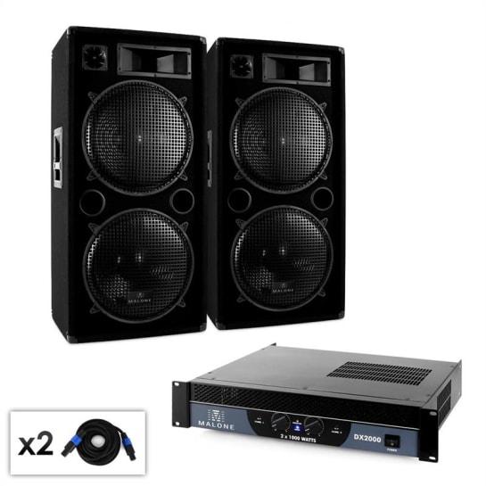 """Set DJ Malone 2.0 """"Bass"""" amplificatore 2000W 2 x casse"""