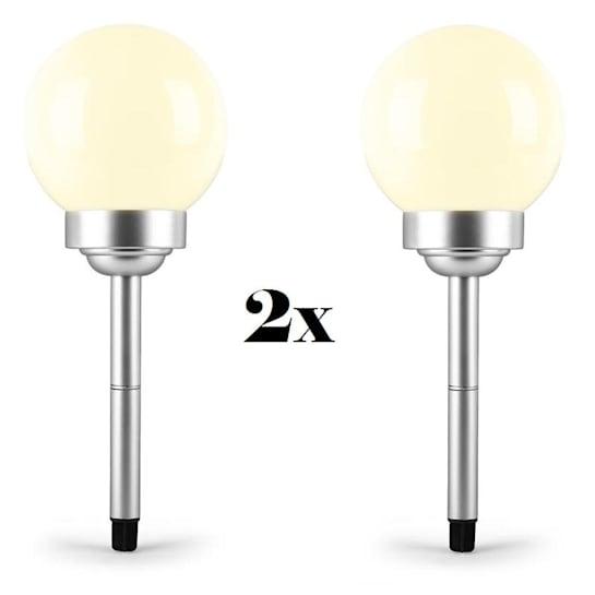 LED-Flower 30 Solar Gartenbeleuchtung 2x Solar Gartenleuchte Ø 30cm 4 LEDs IP44 warmweiß