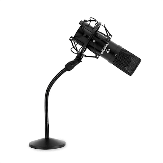 Studio Microphone Set w/ USB Mic In Black & Mic Table Stand
