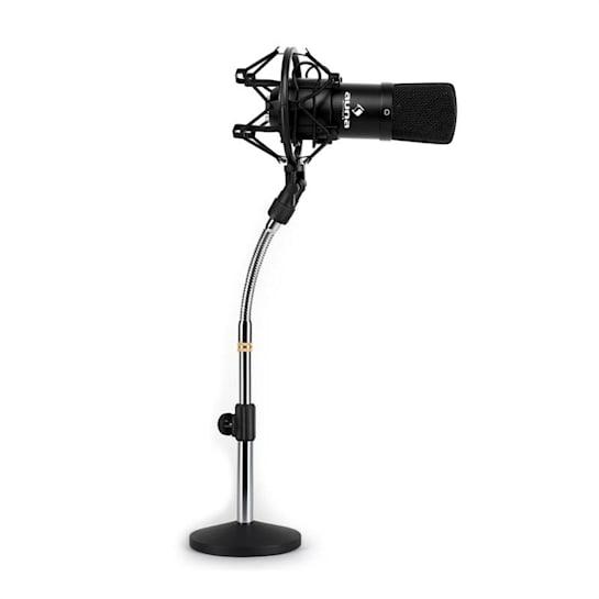 Set Microfono a Condensatore XLR Nero e Stativo da tavolo