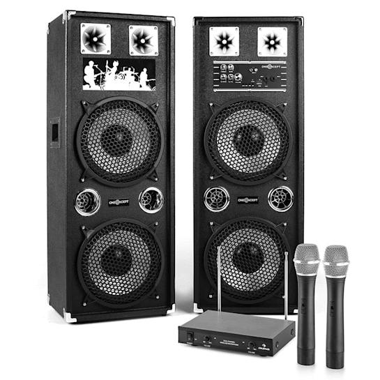 "Karaoke System 10"" Active PA Box Set 80W | 2-Channel VHF Wireless Microphone Set"