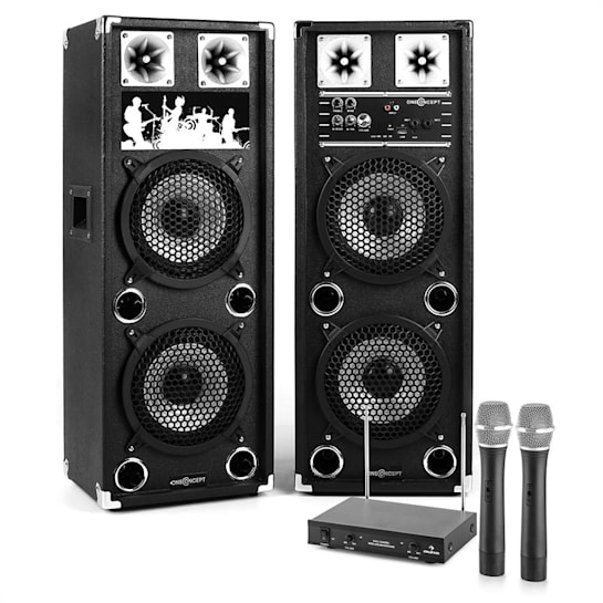 "Impianto Karaoke ""STAR-28A"" Set Casse PA Attive | Set Microfono Wireless 2 Canali"