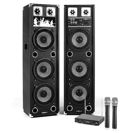 "Impianto Karaoke ""STAR-238A"" Set Casse PA Attive   Set Microfono Wireless 2 Canali"