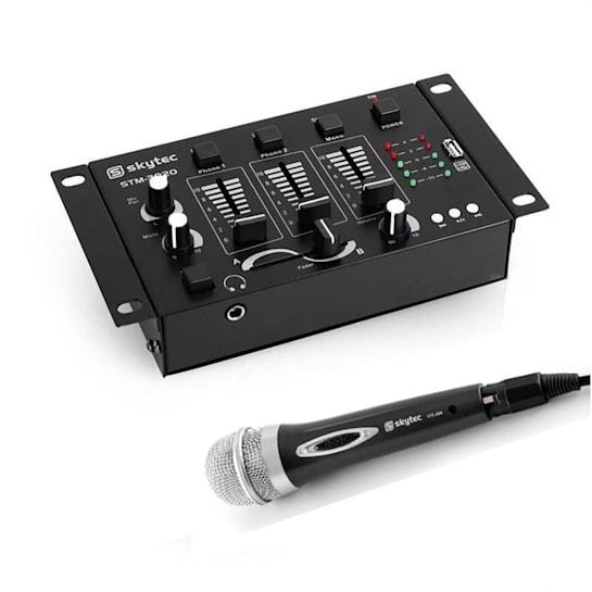 Mini DJ Set 1 x mixer a 2/3 canali 1 x microfono cardioide