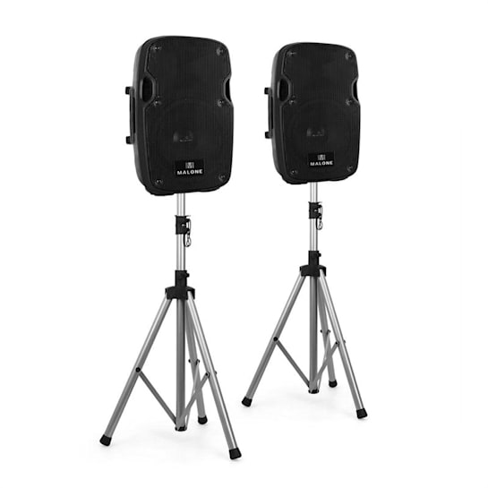 """2.0 Malone PA Active Speaker Set 2 x 12"""" Monitor Speakers & 2 x Tripods"""