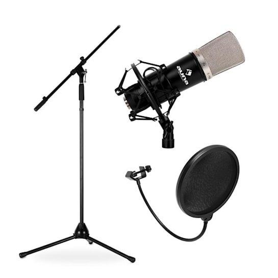 Stage & Studio Set Microphone, Tripod and Mic Shield