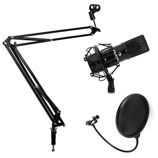 Studio Microphone Set with Microphone, Microphone Boom Arm & Pop Shield Black