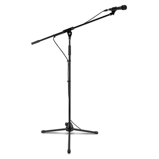 3x auna KM 01 BK Microfoon-set 4-delig Microfoon Standaard Klem Kabel 5m zwart