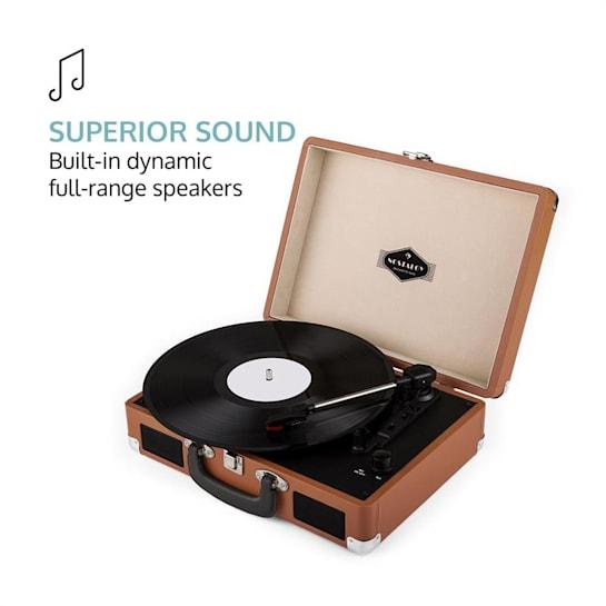 Marron Auna Peggy Sue Record Collector Set Tourne-Disque r/étro /& Valise /à vinyles 2 Enceintes st/ér/éo int/égr/ées sur Les c/ôt/és, num/érisation de vinyles par Le Port USB