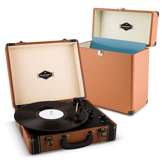 Jerry Lee Record Collector Set brown Retro Plattenspieler Plattenkoffer
