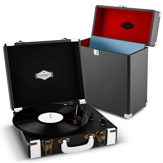 Jerry Lee Record Collector Set black Retro Plattenspieler Plattenkoffer