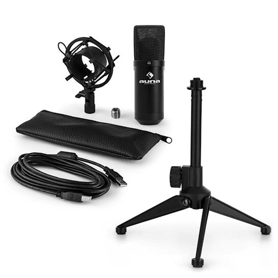 MIC-900B USB Mikrofonset V1 | schwarzes Kondensator-Mikrofon | Tischstativ