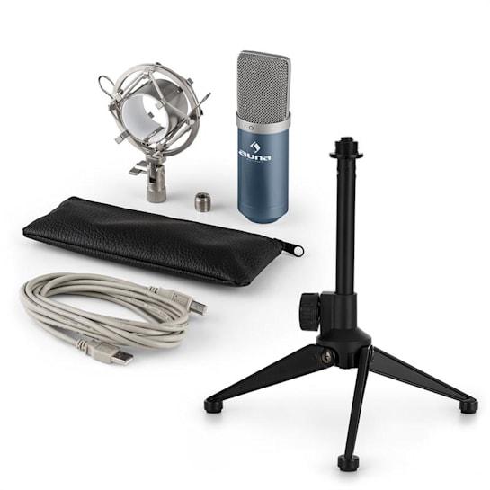MIC-900BL V1, set de microfon usb, microfon condensator albastru + suport de masă