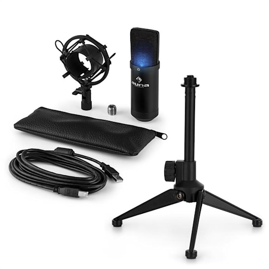 MIC-900B-LED V1, set de microfon usb, microfon condensator negru + suport de masă