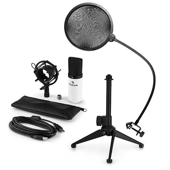 MIC-900WH V2, set de microfon usb, microfon condensator alb + filtru pop + suport de masă