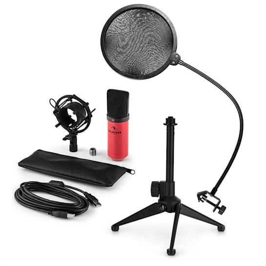 MIC-900RD-LED V2, set de microfon usb, microfon condensator ro;u + filtru pop + suport de masă