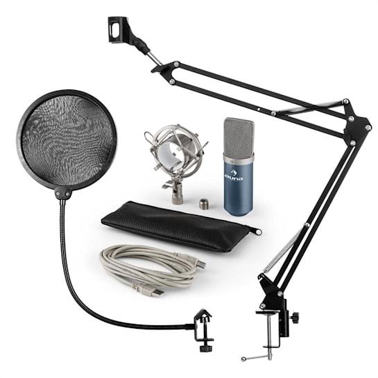 MIC-900BL, v4 USB mikrofon készlet, kék, kondenzátoros mikrofon, POP szűrő, mikrofonkar