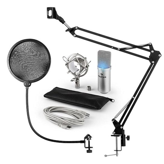 MIC-900S-LED, USB, set de microfon, set V4, argintiu, microfon condensator, filtru pop, braț de microfon, LED