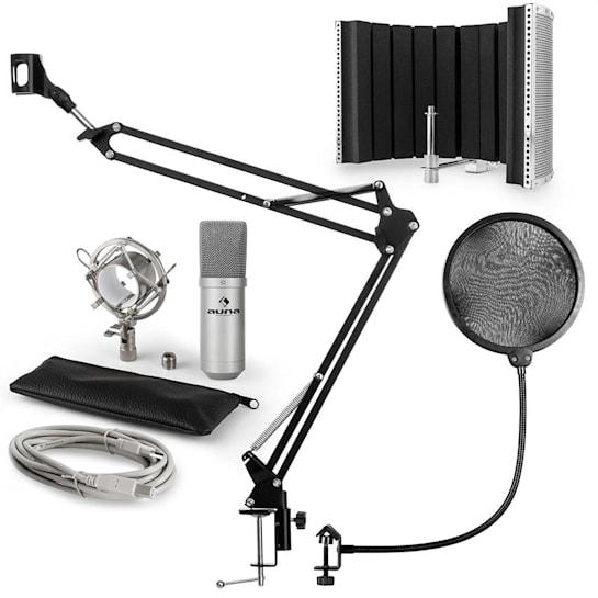 MIC-900S USB V5, srebrni, kondenzatorski mikrofon, nosač mikrofona, apsorpcijski panel, pop filter