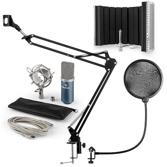 MIC-900BL USB Microphone Set V3 Condenser Pop Filter Microphone + Microphone Shield Blue