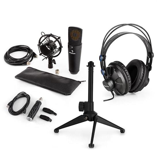 MIC-920B USB mikrofonní sada V2 – sluchátka, kondenzátorový mikrofon, mikrofonní stojan, pop filtr
