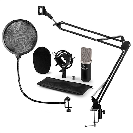 CM003 MIKROFONNÍ SADA V4 kondenzátorové mikrofony XLR mikrofonní RAMENO POP FILTER ČERNÁ BARVA