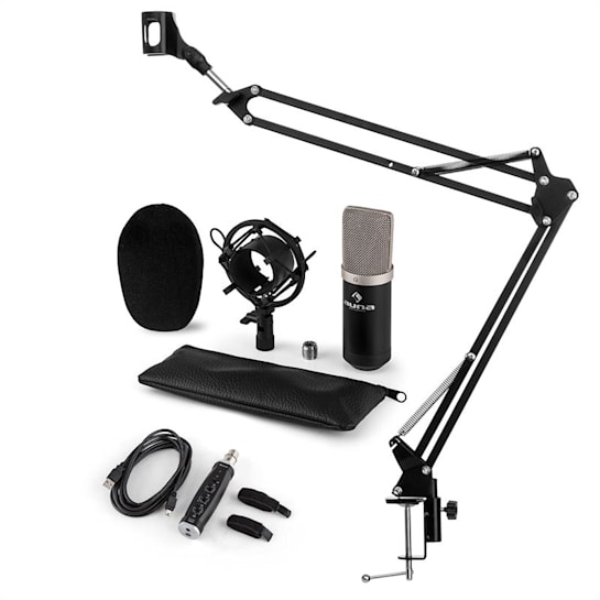 CM003, set de microfon, USB convertor, kit de microfon condensator V3 + braț de microfon, culoare neagră