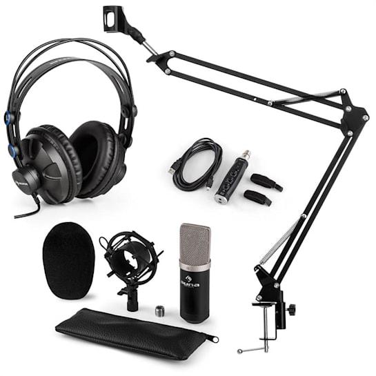 auna CM003 mikrofon szett V3 kondenzátoros mikrofon, USB-konverter, fejhallgató, fekete