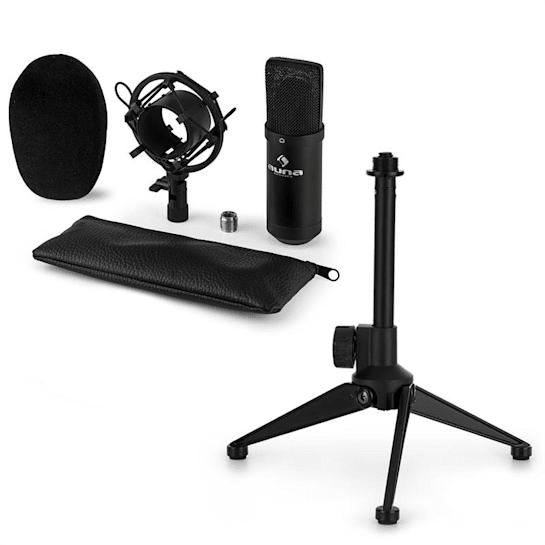 CM00B mikrofonní sada V1 – černý studiový mikrofon s pavoukem a stolním stojanem