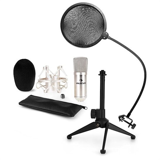CM001S Microphone Set V2 Condenser Microphone Microphone Stand POP Protection Silver