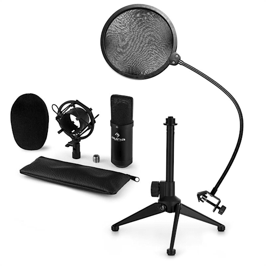 CM001B Microphone Set V2 Condenser Microphone Microphone Stand POP Protection Black
