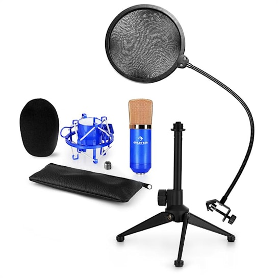 CM001BG mikrofonní sada V2 – kondenzátorový mikrofon, mikrofonní stojan, pop filtr, modrá barva