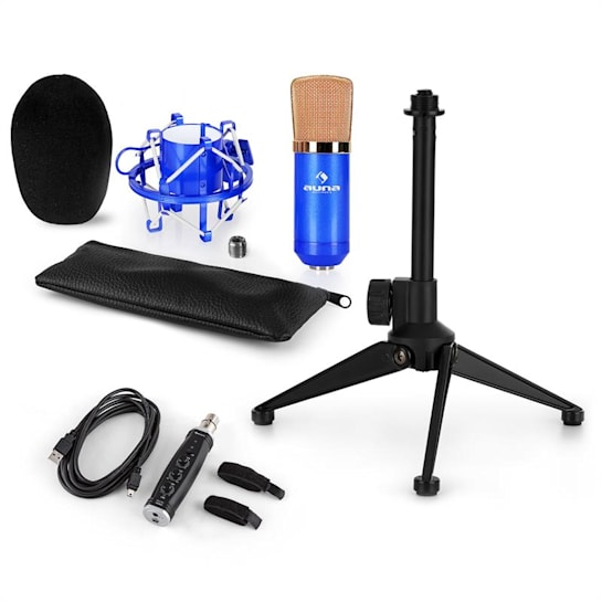 CM001BG Mikrofon-Set V1 Kondensatormikrofon USB-Adapter Mikrofonstativ blau