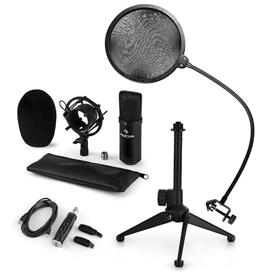 CM001B Mikrofon-Set V2 Kondensatormikro USB-Adapter Mikrofonstativ schwarz