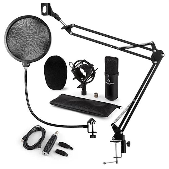 CM001B Microphone Set V4 Condenser Microphone Arm POP-Shield black