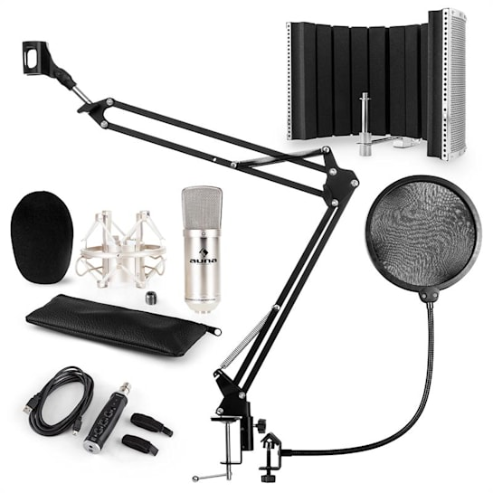 CM001S Microphone Set V5 Condenser Microphone Arm POP-Shield Screen silver
