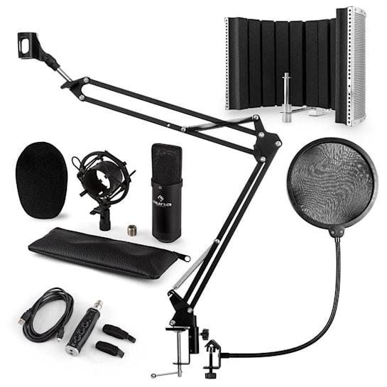 CM001B set de microfon V5 microfon cu condensator, adaptor USB, curea pentru microfon, filtru pop -negru
