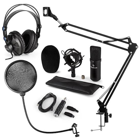 CM001B, set microfon, casti V4, microfon cu condensator, brat pentru microfon, filtru POP, culoare neagra