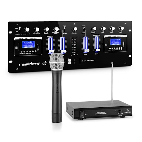 J405USB-BK Mixer DJ 4 Canali Incluso Set Radiomicrofono VHF 1 Canale