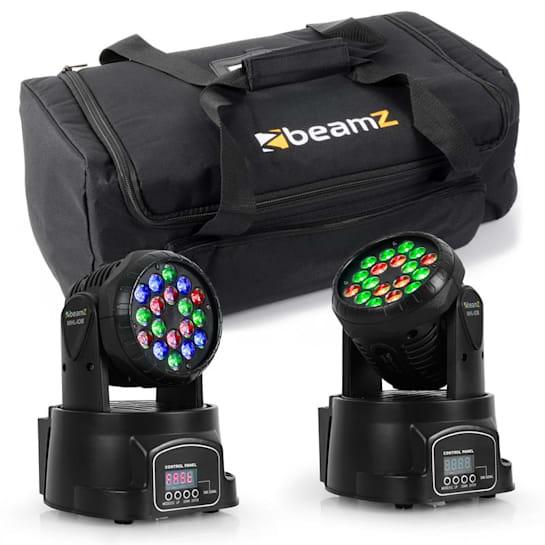 set světelných efektů s transportní taškou, 2 x moving head LED 108