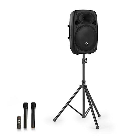"Streetstar 12 impianto PA portatile + treppiede woofer da 12"" microfono UHF da 800 W nero"