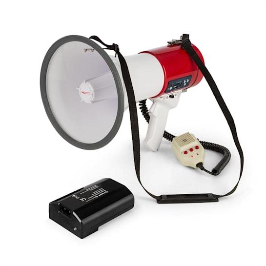Megáfono Altavoz Sonidos Alarmas 80W MEGA080USB Rojo con batería