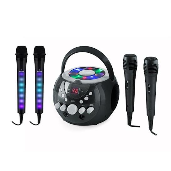 SingSing zestaw do karaoke czarny Kara Dazzl zestaw mikrofonów LED