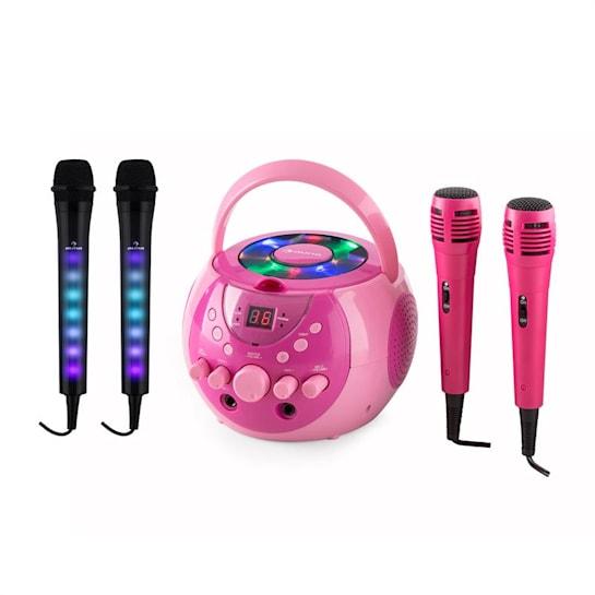 SingSing pink + Dazzl Mic Set Karaokeanlage Mikrofon LED-Beleuchtung