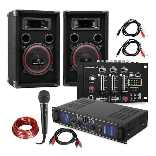 "DJ PA Set ""DJ-14"" BT, PA-Verstärker, BT-Mixer, 2xLautsprecher, Karaoke-Mikro"