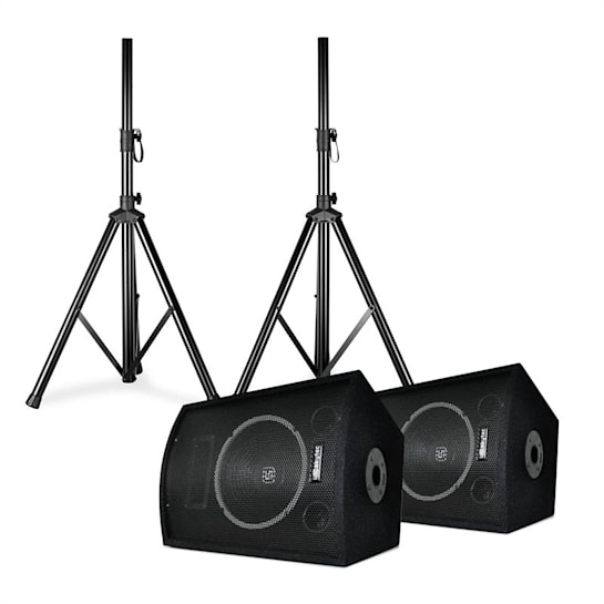 """SL10 Disco Boxes Pair with Tripods 10"""" Woofer 250W max. 2x Tripod + Bag"""
