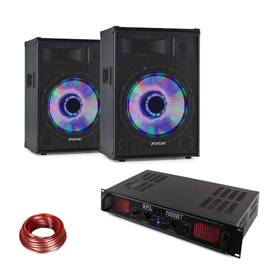 DJ PA-Set LED10BT, 2 x Fenton PA-Box, Skytec Hifi-Verstärker, Lautsprecherkabel