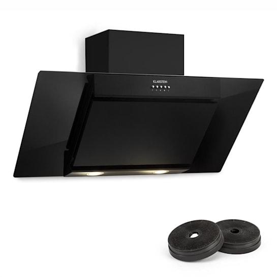 Zola Cappa Aspirante Set di Ricircolo 90 cm  635m³/h Filtro a Carbone Attivo Nero