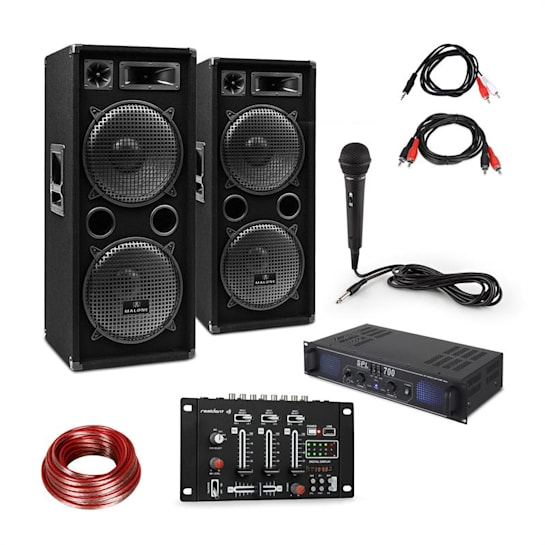 SSkytec SPL700EQ versterkerset met 2 luidsprekers mengpaneel microfoon