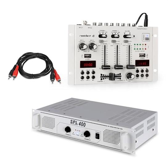 SPL400 PA zesilovač + mixážní pult Resident DJ 22 BT 2CH, bílý